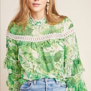 Tracey Reese Hope for Flowers Silk Peasant Blouse
